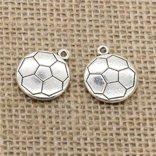 Wholesale 30pcs Charms Tibetan Silver Plated double sided football 18*21mm Pendant for Jewelry DIY Hand Made Fitting