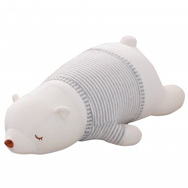 45-75CM Large Size White Bear Plush Toys Stuffed Nanoparticle Toys Lying On Front Big Polar Pear Cloth Doll Children Gift