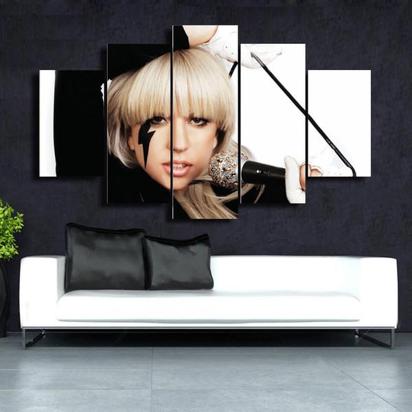 5 Pcs/Set Gaga HD Picture Canvas Print Painting Wall Art For Wall Decor Home Decoration Cheap Artwork DH010