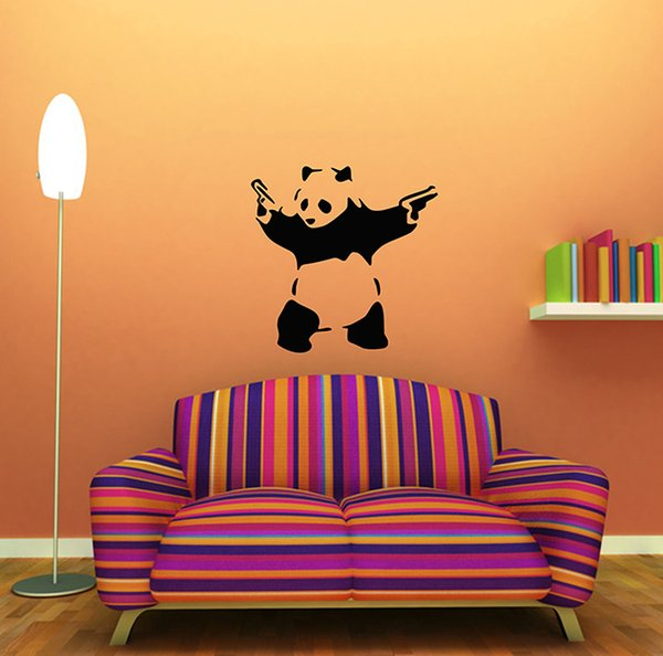 Funny panda bear gangster guns wall sticker animal vinyl decal room decor art