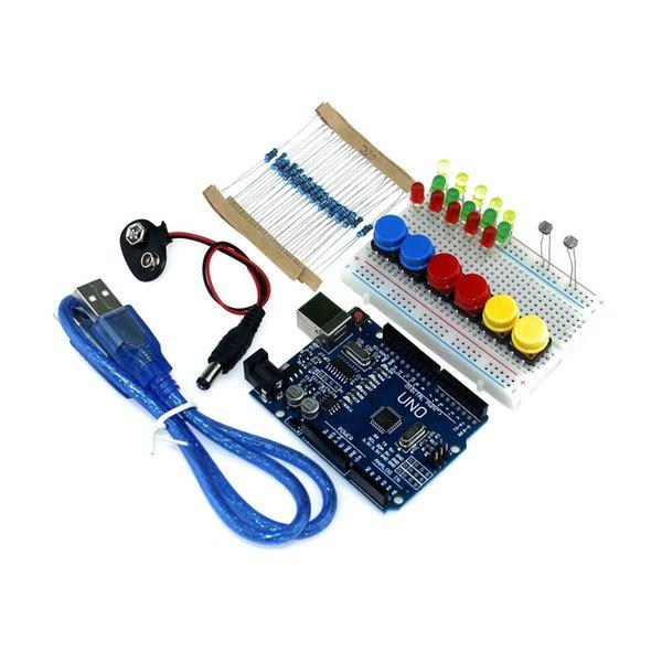 Atacado-Frete grátis novo Starter Kit UNO R3 mini Breadboard LED jumper botão de arame para compatri