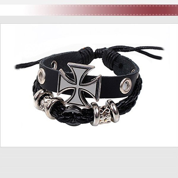 2016 Nueva Moda de Múltiples Capas Wrap Pulseras Ancient Rome Deluxe Pulseras de Cuero de Metal Cruz Pulseras Del Encanto Para Los Hombres YC2038 Envío Gratis