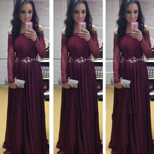 Vintage Long Formal Dress Plum Off the Shoulder Lace Appliques Illusion Sleeves Floor Length Evening Prom Party Gowns Crystals