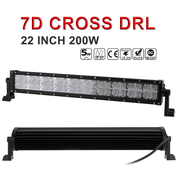 DHL Free! 7D Cross DRL 22 Inch 200W LED Working Light Bar Combo Beam Offroad Lights for SUV Truck ATV CLT_42G