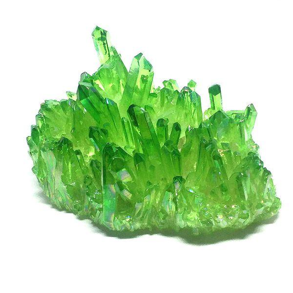 690g/high Beautiful quality quartz plating green crystal polyhedron polyhedron electroplating crystal vug cluster Home decoration
