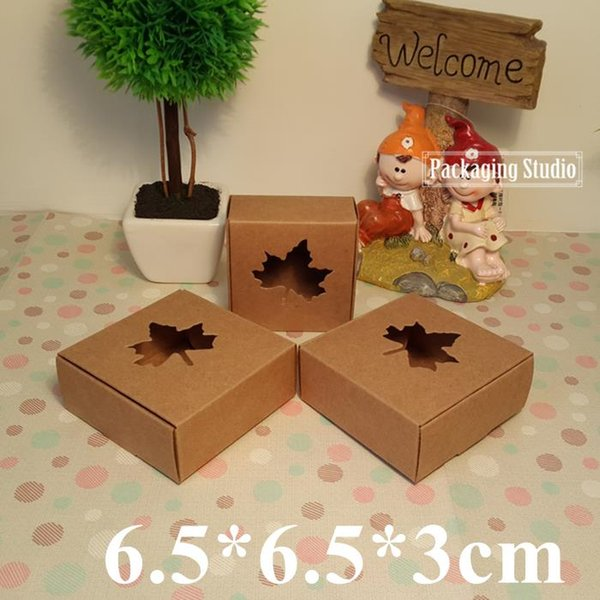 200pcs Retail Maple Window Brown Kraft Paper Box DIY Cookies Craft Gift Soap Custom Boxes 6.5*6.5*3cm Free Shipping