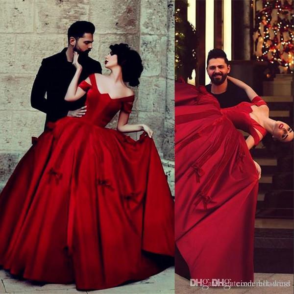 Burn Red Vintage Satinado Saudí Árabe Fuera de Hombro Vestido de Fiesta Vestidos de Baile Princesa Dancing Wear Vestidos de Noche de Fiesta de Mujeres wd11