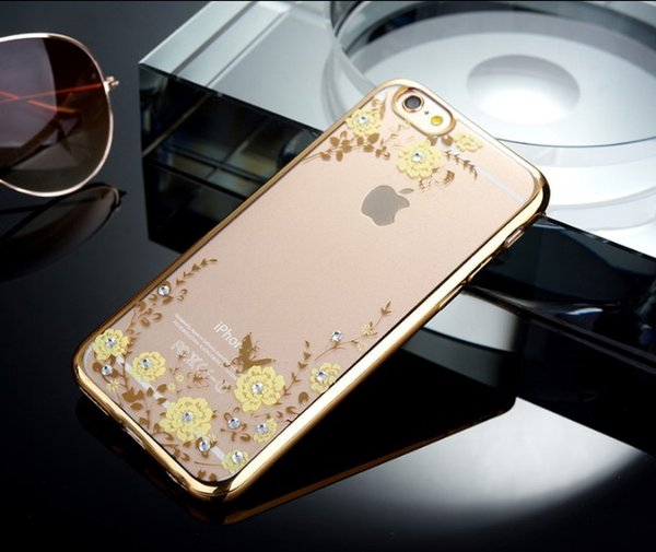 Rhinestone phone case for iPhone 7 6 6s plus Electroplating TPU soft flower design with diamond Slim Protective Back Cover 1pc ship GSZ026