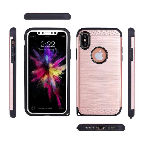 Hibrid Durum Zırh iphone X iphone 8 Artı 7 Artı 6 Artı Sağlam Balistik Darbeye Çift Katmanlı Koruyucu Sert PC + TPU Ko ...