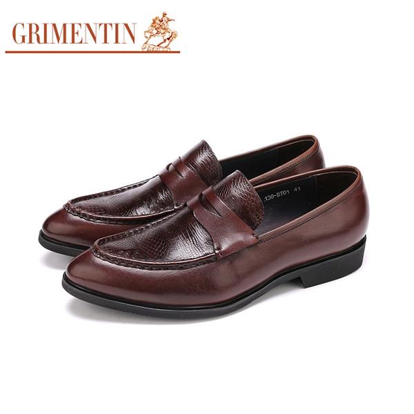 GRIMENTIN Hot sale Italian fashion formal mens dress shoes black brown slip-on men loafers 100% genuine leather business wedding men shoes