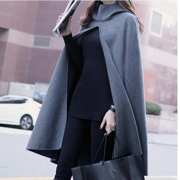 Wholesale-Fashion Women's Hooded Capes And Ponchoes Autumn Winter Women's Elegant Gray Cloak Blend Cape Female Hoody Poncho WT0013-G
