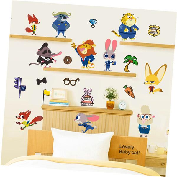 Cartoon Movie Zootopia Car Wall Stickers Cartoon Zoo For Kids Room ...