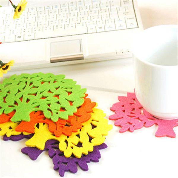 Hot 5PCS Tree Shape Felt Coasters Cup Mat Pad Bowl Glass Plate Mug Coaster #R571