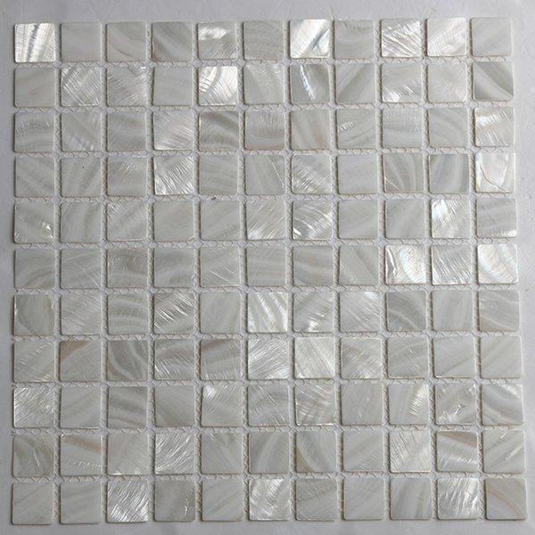 Grosshandel Freies Verschiffen Weisse Farbe Perlmutt Shell Mosaik 25x25mm Fur Boden Wand Verwendet Frischwasser Shell Fliesen Ms064 Von