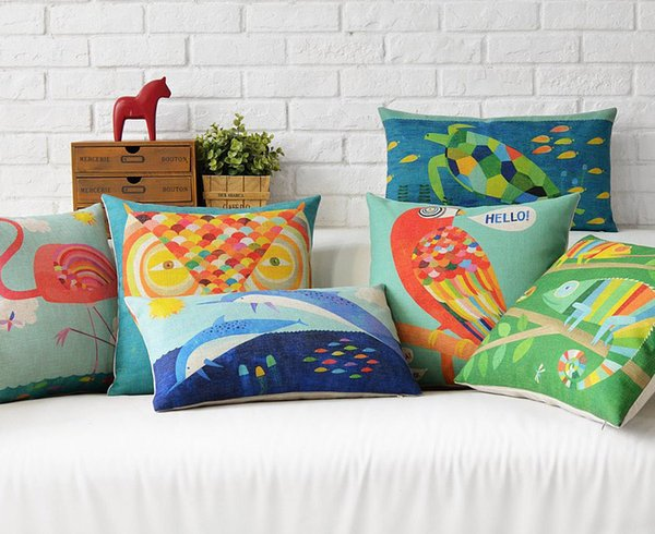free shipping novelty animal chameleon turtle dolphin owl flamingo parrot pattern cushion cover home decor throw - Home Decor Cushions