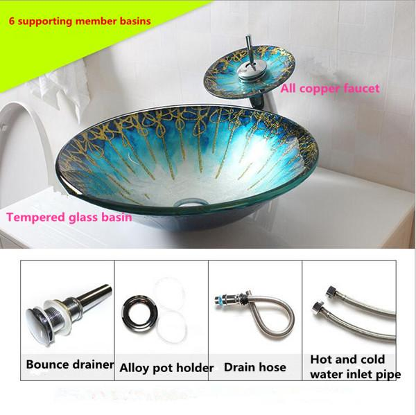 Wash basin Glass Products Bathroom Cleaning Arts Home Decoration Morning Glory Shape Green Waterfall faucet Free Shipping