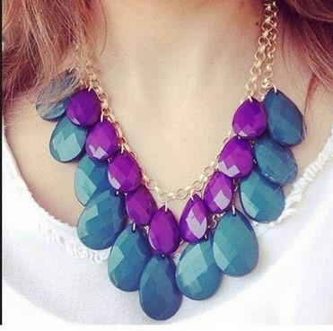 Hot Bohemian Sweet Acrylic Necklaces Chunky Statement Chain Vintage Waterdrop Pendant Bib Choker Necklace Elegant Beads droplets Candy