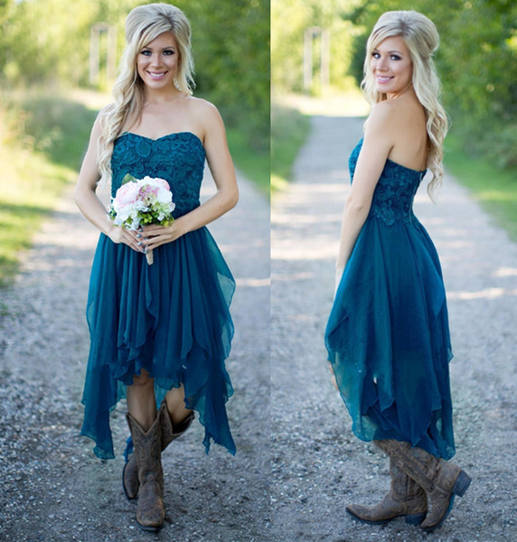 Country Western High Low Short Bridesmaid Dresses Chiffon Lace Casual Maid Of Honor For Wedding Under 100 Homecoming Party Prom Gowns A Line