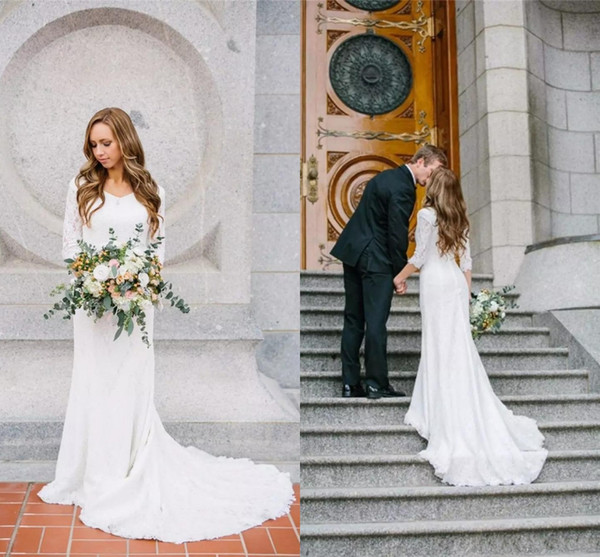 2018 New Vintage Modest Wedding Dresses With Long Sleeves Bohemian Lace Chiffon Wedding Gowns Country Wedding Dress