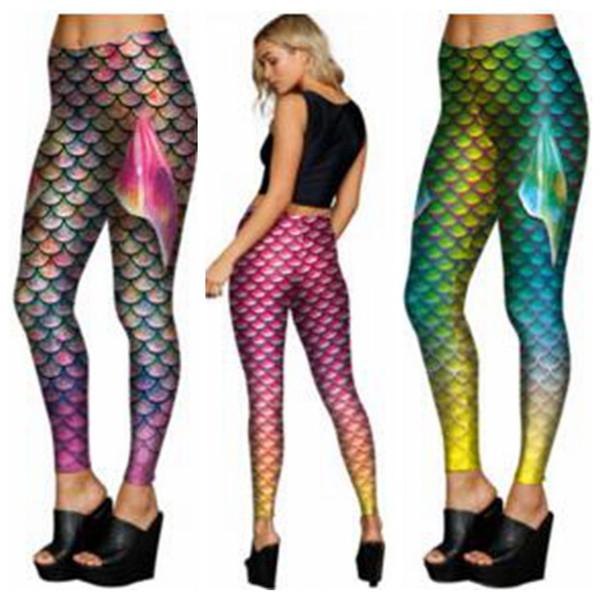 Leggings Mermaid Escamas de pescado Jeggings Mujeres Sirena Medias delgadas Aletas de cola Brillante Fitness Pantalones a lápiz Impreso Stretch Pantalones Roupas B3535