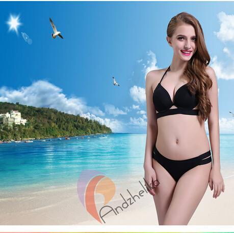 New Andzhelika Sexy Bikinis Women Black Bandage Swimsuit Push Up Swimwear Low Waist Bathing Suit Brazilian Bikinis Set XS-XL