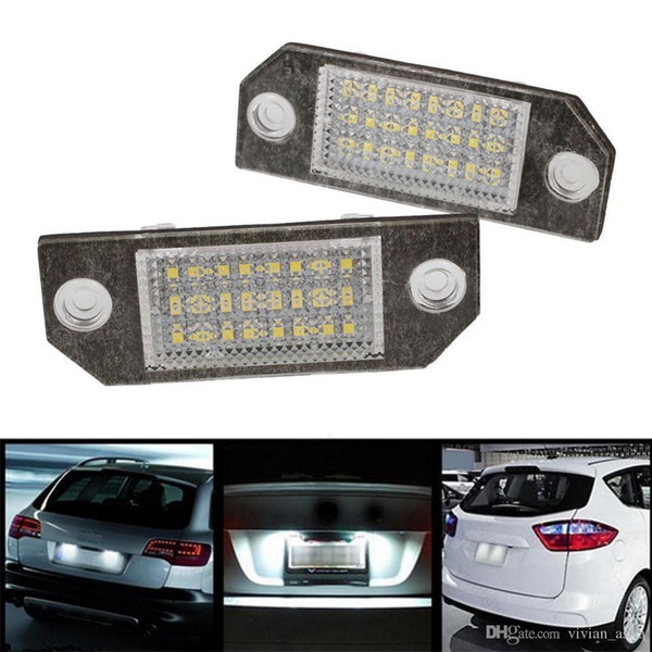 2017 newest 2Pcs 12V White 24 LED Number License Plate Light Lamp for Ford Focus C-MAX MK2 Car Light Source