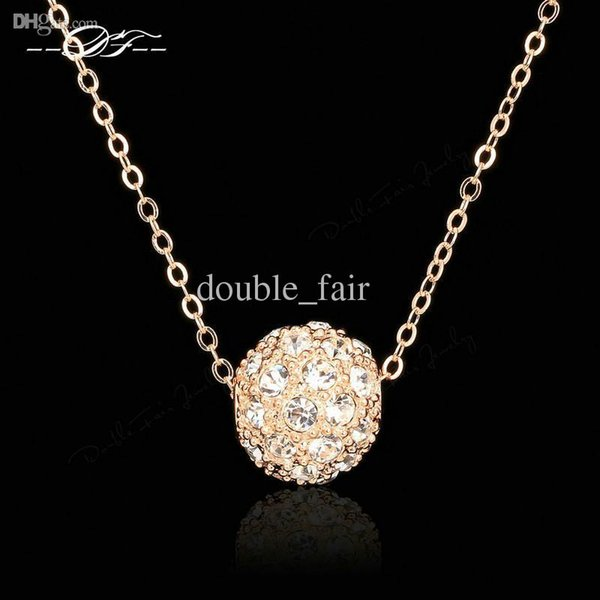 Lucky Ball 18K Rose Gold Pated Charms Necklaces & pendants Fashion Jewelry For Wonem Gifts Crystal Chains colares DFN252