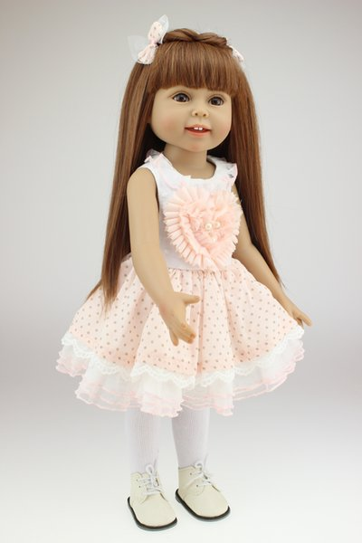18inch 45cm Girl Toy Doll Lifelike Movable Full Vinyl Body Smile Princess Girl Doll Gift in Princess Doll Dress