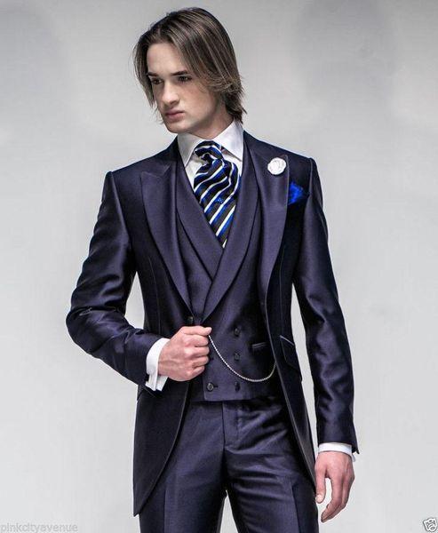 Smoking blu navy di alta qualità per gli uomini Slim Fit Mens Smoking di nozze Custom Made Morning Mens Suit 2015 (Jacket + Pants + Vest + Tie)