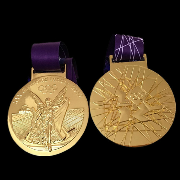 10 pcs/lot The 2012 London Olympic Games Championship Gold Medal badge with belt real gold plated copy coins