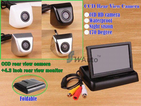 Otopark 2.4G kablosuz dikiz kamera 170 derece lens HD CCD yedekleme kamera + 4.3 Inç TFT LCD Mini Araba Dikiz Monitör