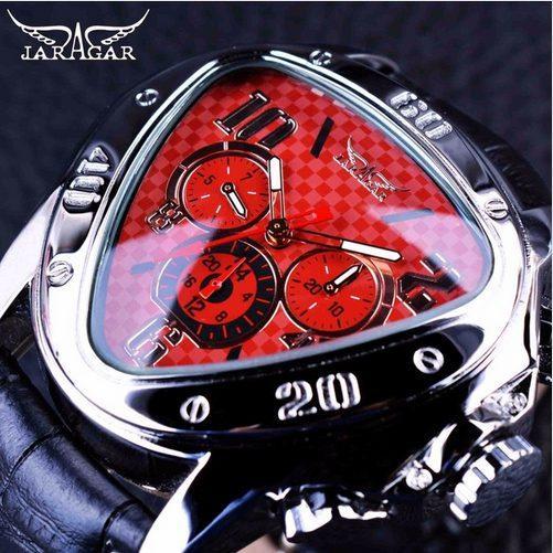 Jaragar 2018 Sport Racing Series Red Dial de moda Correa de cuero genuino Mens Relojes de pulsera masculina Top Brand Luxury Automatic Watch