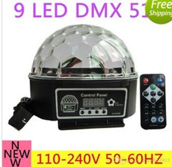 9 color LED DMX 512 Stage Lights Crystal Magic Ball Lighting Effect Light+remote control For Bar, Party, Nightclub, Disco AC110V-220V