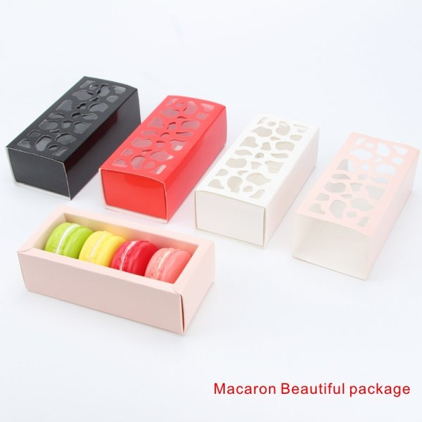 best selling Macaron Beautiful package Multi-purpose Hollow Short Paragraph Macaron box Home Baking Boutique Packaging Box 4 colors.