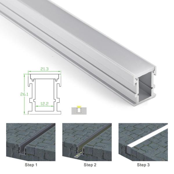 10 X 1 M Sätze / Los AL6063 T6 Aluminium LED-Profil und anodisierte Silber führte Kanalzug für Boden oder Bodeneinbauleuchten