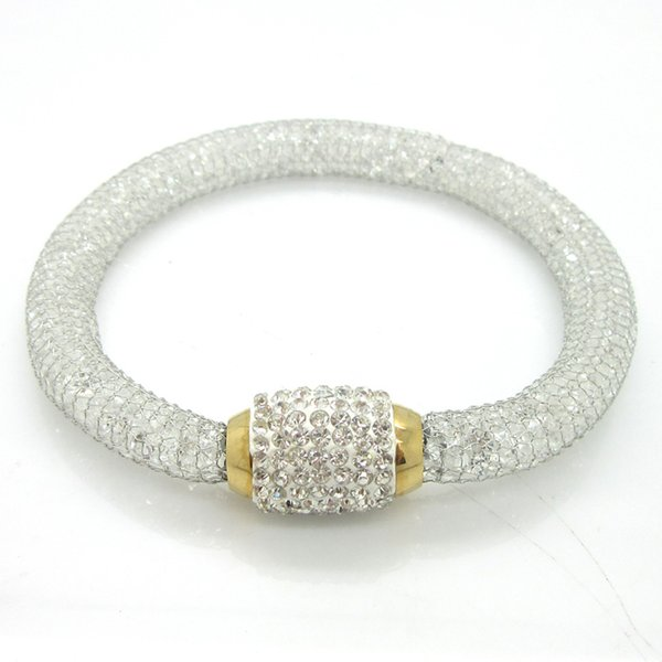 Magnet Clasp Stainless Steel Filled With Stone Crystal Mesh Chain Fashion Bracelet For Women