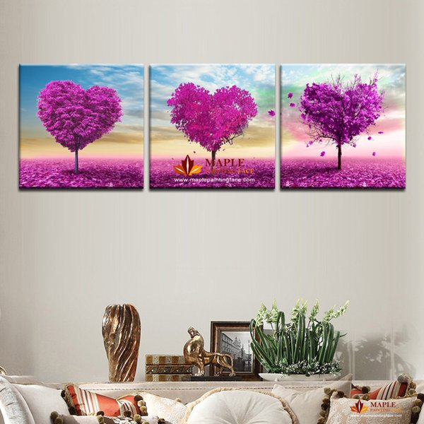 Hot Sell 3 sets Canvas Painting Purple Loving Heart Trees Art Cheap Picture Home Decor On Canvas Modern Wall Prints Artworks NO FRAME