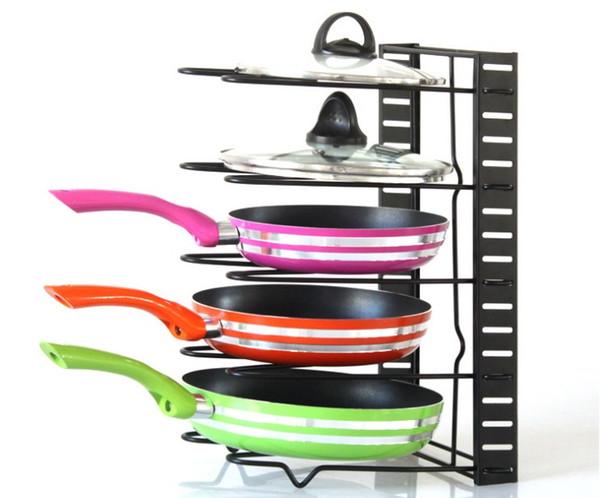 Pan Organizer Rack Meuble De Rangement De Cuisine Etagères Pot Support pour Rôtir Poêles Couvercle Planche À Découper etc Noir Blanc