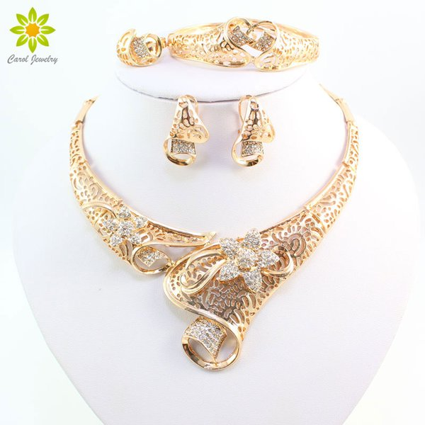 Hot Selling Dubai Crystal Rhinestone Flower Necklace Sets 18K Gold Plated Wedding Bridal African Costume Jewelry Sets