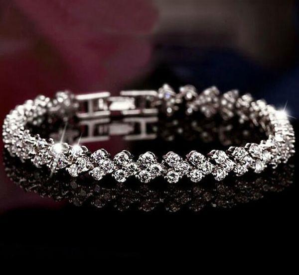 best selling Luxury Austria Shining Crystal Bracelets Genuine 925 Sterling Silver Charms Bracelet Zircon Diamond Roman Tennis Link Bracelet Jewelry