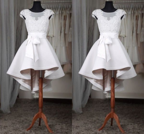 best selling White Short Homecoming Dresses Sheer Neck Cap Sleeves Appliques Lace Satin Custom Made High Low Prom Dresses Fast Shipping