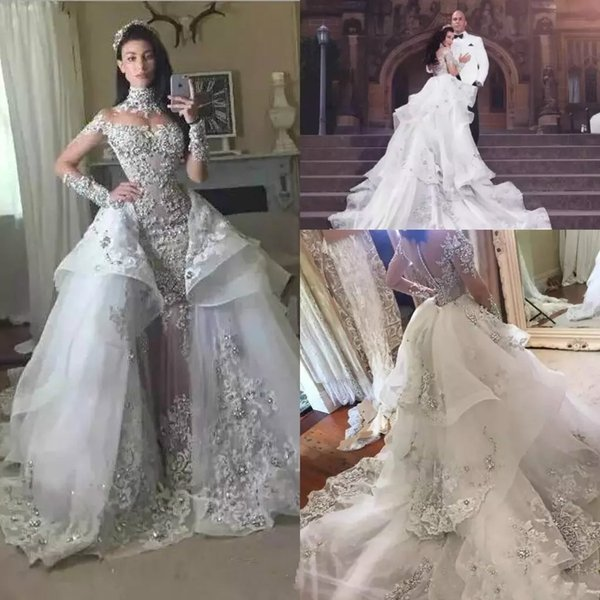 Luxury Silver Crystal Wedding Dresses 2018 High Neck Sheer Long Sleeves Lace Appliques Beads Bridal Gowns