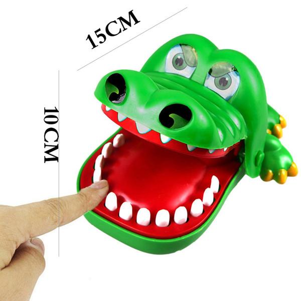 Venta al por mayor- 15cm Divertido boca de cocodrilo Dentista Mordida Dedo Juego Juguete Niños Cocodrilo Juego de ruleta (Color: Verde)