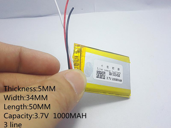 Hot selling 3 line 3.7V 1000mAH 503450 PLIB polymer lithium ion / Li-ion battery for GPS,mp3,mp4,mp5,dvd,bluetooth,model toy