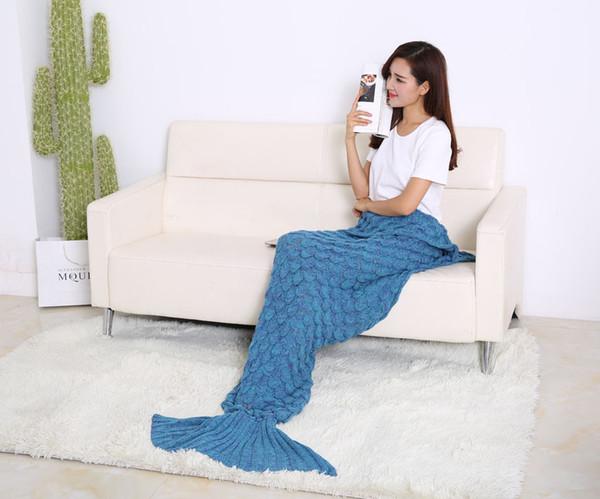 top popular 190X90cm Hot Crochet Mermaid Tail Blanket with scale 7 colors Blanket Bed Sleeping Costume Mermaid Air-condition Knit Blanket Wholesale 2019