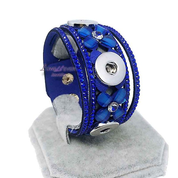 High Quality Retro 009 Korean Velvet Snap Button Bracelet Interchangeable Charm Jewelry For Women Men(Fit 18mm button )