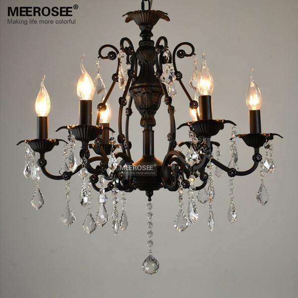Lámpara colgante de cristal negro de la vendimia 6 luces de américa Lámpara colgante de hierro forjado colgante colgante luz de la gota