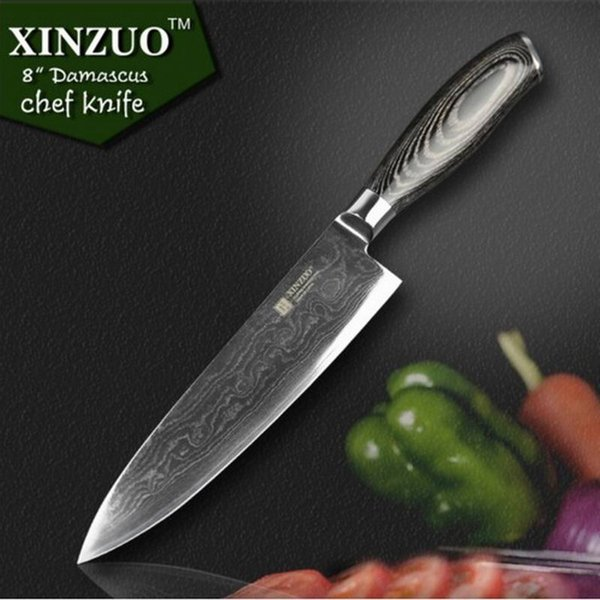 2016 XYZ 8inch Chef Knives High Quality Fashion Japanese VG10 Damascus Steel Kitchen Knife With Micarta