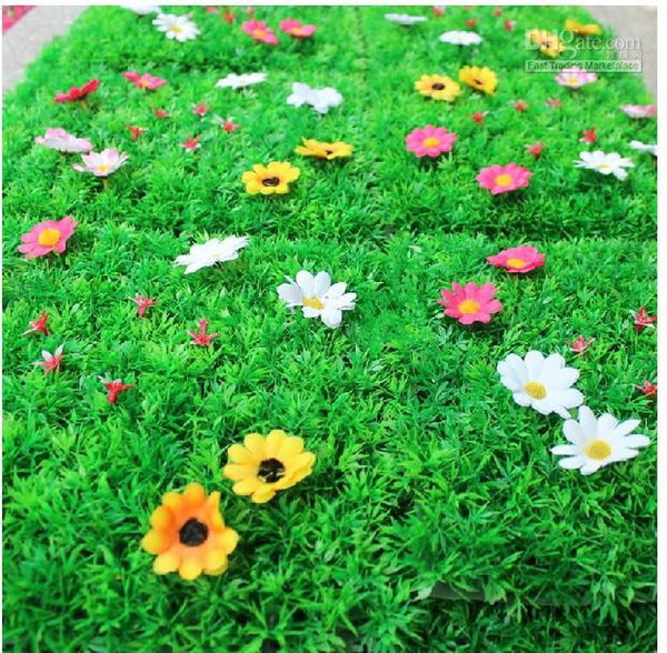25 * 25 CM Artificial Imitation Fake Grass Mat artificial turf plastic boxwood for Garden House Nursery Schools Decorations