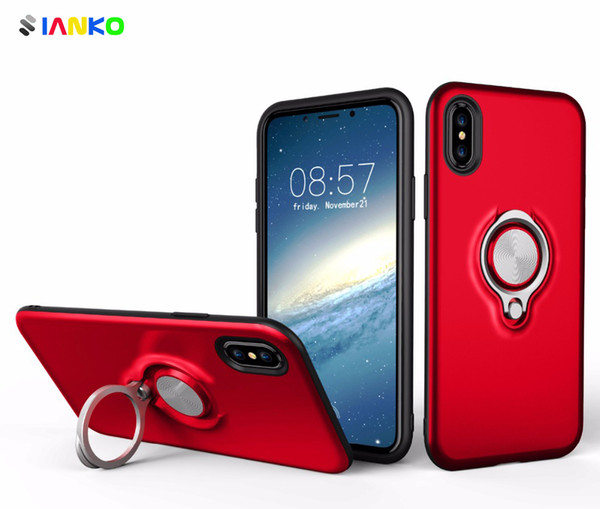 Magnetic Phone Case For iPhone X Cover With Finger Ring Stand Holder And Suitable for Car Suction Bracket For iPhone 8-7-6 Plus Bumper